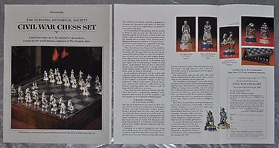 1985 Franklin Mint 2 page advertisement for US CIVIL WAR CHESS SET, ad only