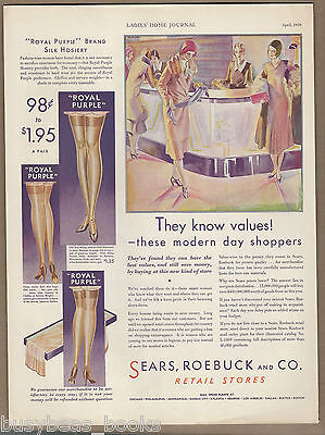 1930 SEARS advertisement, Silk Hosiery, shapely legs, large size advert
