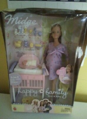 Happy Family Pregnant Midge Mom and Baby Barbie Doll NRFB