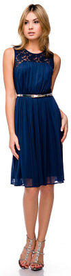 New Navy Blue Short Cocktail Party Sleeveless Dress with Silver Belt Size M