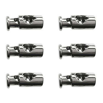 6Pcs Metal Cylinder Barrel String Cord Lock Toggles Spring Stopper Cordlocks