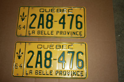 1964 Quebec Auto Plates Front and Rear
