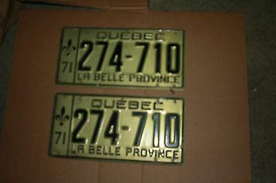 1971 Quebec Auto Plates Front and Rear