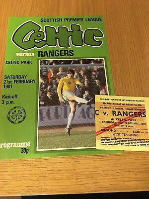 CELTIC  v RANGERS 21.2.1981 AND TICKET
