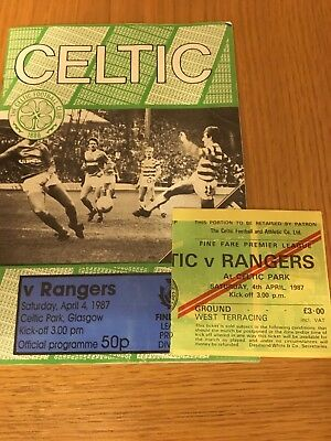 CELTIC  v RANGERS 4.4.1987 AND TICKET
