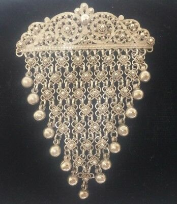 Antique Indian Silver Chain Link Ball Brooch