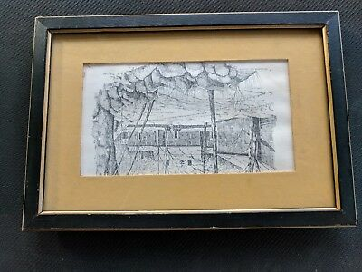 """Signed Pen and Ink Drawing Sketch Framed 8 1/2 x 6"""" Wayside Inn Sudbury Mass"""