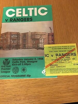 CELTIC  v RANGERS 2.1.1988 AND TICKET