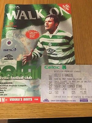 CELTIC  v RANGERS 2.5.1999 AND TICKET