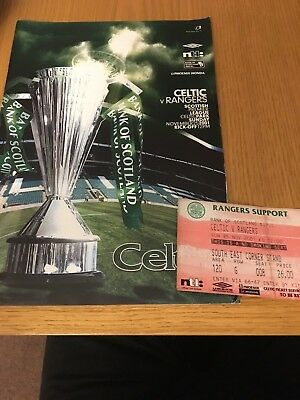 CELTIC  v RANGERS 25.11.2001 AND TICKET