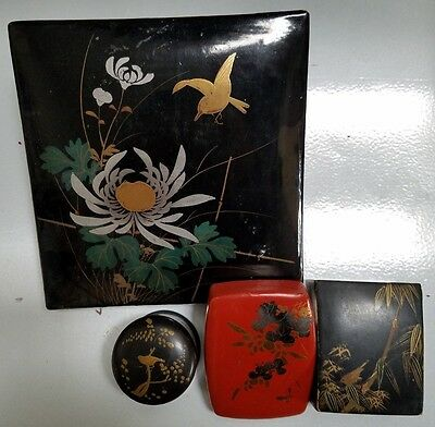 4 Vintage Japanese Lacquer On Papermache Boxes - Chinoiserie