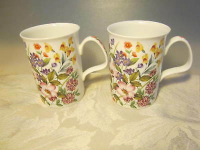 "Pair of ""Floret"" Fine Bone China Tea/Coffee Mugs by Roy Kirkham"