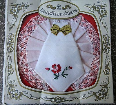 2 Vintage Ladies Cotton Handkerchiefs Embroidered and with lace in original box