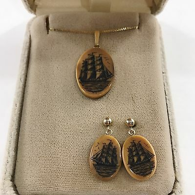 Scrimshaw Ship Pendant Necklace and Earrings 14k Yellow Gold Tall Boat Vintage