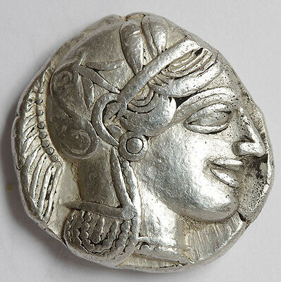 CM ATTICA ATHENS Silver Tetradrachm about EF Genuine Ancient Greek Large Coin