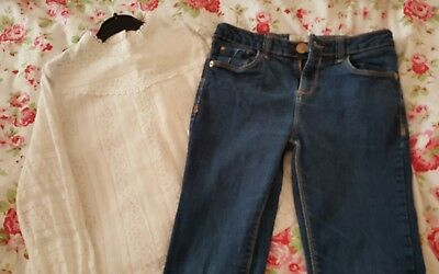 girls river island age 10 years jeans and next lace top long sleeve age 10  9-10