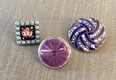 3 Enamel Buttons, Hallmarked Guilloche, Rose & Turquoise Pierreries, & Spatter