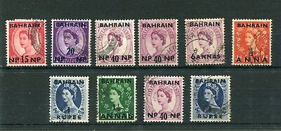 Bahrain.10 -- Early Gb Qe2 Used Stamps With Bahrain Overprint. On Stockcard