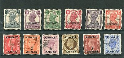 Kuwait.12 -- Gb & India Used Stamps With Kuwait O/print.on S/card