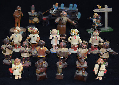 Vintage Small German Wooden Figures Band Angel Conductor Carriage K&e Erzgebirge