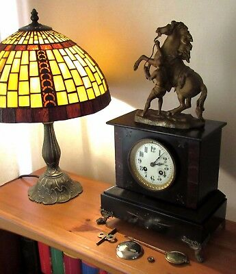 Nice 19th Century Japy Freres Striking Mantle Clock & Coustou Style Marly Horse