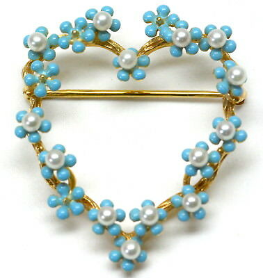 Edwardian 14k Gold & Seed Pearl with Blue Stones Heart Pin Brooch NR