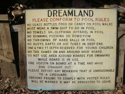 C 50's Wood Hand Painted Dreamland Pool Rules Sign Portsmouth Ohio 5'W x 54 1/4H