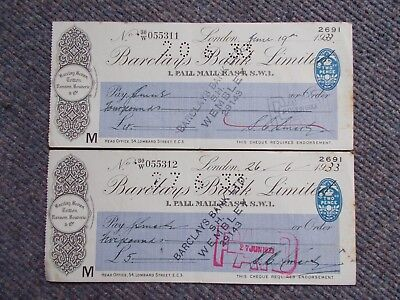 PAIR 1933 BARCLAYS BANK LONDON CHEQUES CONSEC Nos