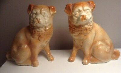 Pair Of Antique Bo'ness Pug Dogs Unusual Colour