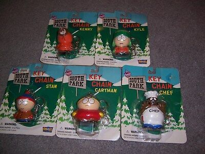 Original South Park Keychain Lot of 5 1998 Cartman Kyle Kenny Stan Chef Sealed