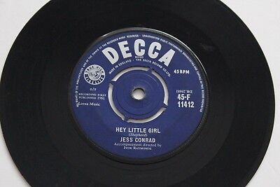 JESS CONRAD  ‎– Hey Little Girl / Twist My Wrist 1961 Decca ‎45-F 11412 UK Press