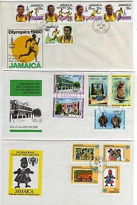7 Jamaica First Day Covers, 1979-1980, Cachets, Many Stamps, FDCs