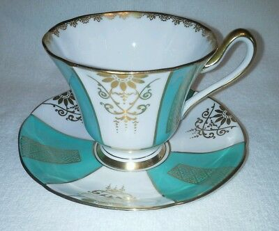 Vintage TUSCAN TEA CUP SAUCER SET Teal floral gold gilt footed England