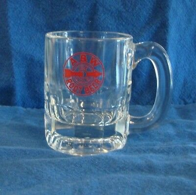 Vintage A&W Root Beer Soda Glass Mugs Miniature - Red and Black Bulls Eye Logo
