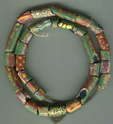 African Trade beads glass Vintage Venetian old glass mixed millefiori damaged