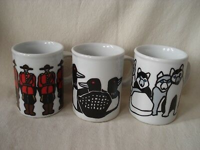 3 Marc Tetro mugs - Mounties, Loons, Huskies