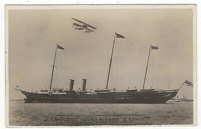 Cowes H. M. Royal Yacht Victoria And Albert Hydroplane Flying Over Old Postcard