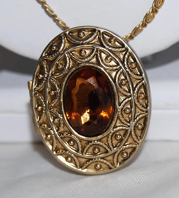 Avon Perfume Solid with Amber Rhinestone & Gold Tone Pin Pendant