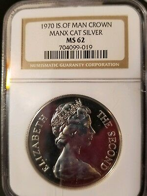 1970 isle of man crown manx cat silver coin NGC .  Ms 62