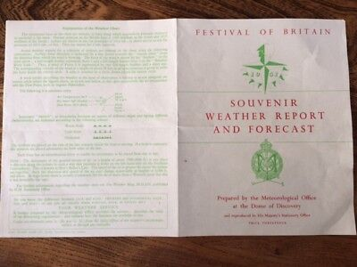 Festival of Britain, Souvenir Weather Report and Forecast, Sept 1952
