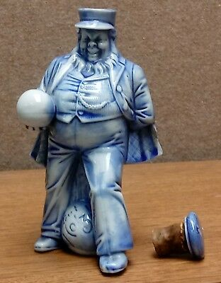 Old GUT HOLZ Blue &White BOWLING Figural Porcelain FLASK Whiskey SCHAFER & VATER