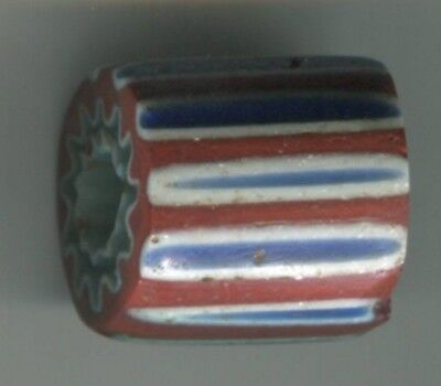 African Trade bead antique vintage Venetian glass 7 layer blue chevron old