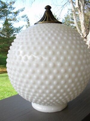 Vintage White Milk Glass Hobnail Light Fixture Globe ~ Excel Shiny Condition