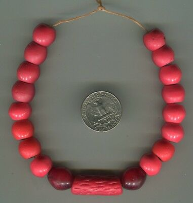 African Trade beads Vintage Czech Bohemian glass assorted red beads