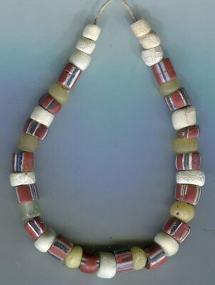 African Trade beads Vintage Venetian glass old striped green heart bead mixed