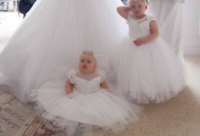 Girls Custom Couture Dress White Tulle, Organza, Chantilly Lace & Diamanté 1&2yr