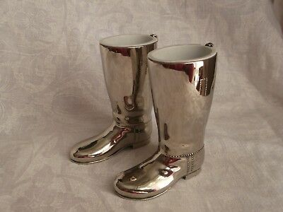 A Pair of Heavy English Silver Plated Riding Boot Drink Measures 1oz & 1.1/2oz