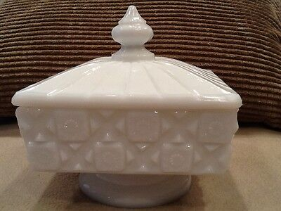 Westmoreland Milk Glass, Old Quilt Pattern, Square Covered Candy Footed, 5in T