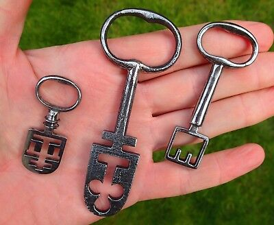 Three rare iron 18th-19th century British latch lock keys
