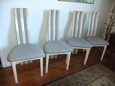 Set of 4 Mid-Century Modern Benny Linden Limed Teak Dining Chairs
